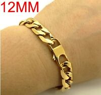 Heavy Mens 20cm Stainless Steel Gold Curb Link Chain Bracelet Thick Chunky C9