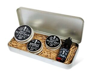 Whiskey scented Gift Tin by Revered Beard; Beard Oil, Beard Balm, Wax,  Lip Balm