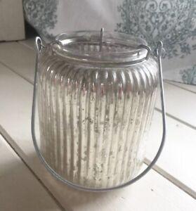 "NEW 6"" LANTERN SILVER Vintage MERCURY GLASS PILLAR CANDLE HOLDER Fall Decor"