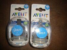 Philips Avent AIRFLEX Reduces Colic Nipples 2-pk x 2 3m+ Medium Flow BPA Free