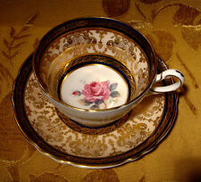 VINTAGE PARAGON FINE BONE CHINA TEA CUP & SAUCER ROSE COBALT BLUE & GOLD A866