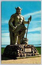 The Viking Statue in Gimli, Manitoba Canada Chrome Lake Winnipeg Postcard Unused
