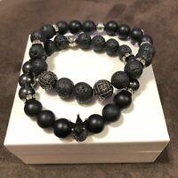 Black Tourmaline Grey Hematite Green Jade /& Lava Rock Beads with Black Skull