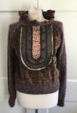 80's Vintage Koos Van Den Akker Runway Couture Mixed Media Sweater Sz 8 RARE