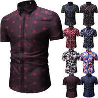 Luxury Mens Stylish Casual Dress Shirt Slim Fit T-Shirt Short Sleeve Formal Tops