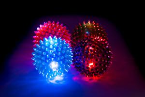 Flashing Light Up LED Spikey Ball Bouncing Novelty Sensory Ball - Pack of 4