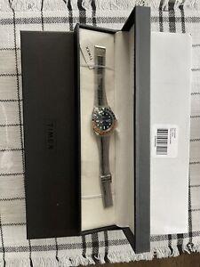 Timex Q Reissue 38mm Stainless Steel Bracelet Blue/Orange Watch BNIB US SELLLER!