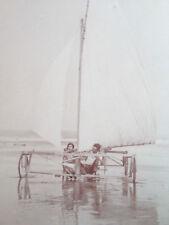 c1920 CHAR à VOILE PLAGE 2 photo-carte CPA YACHTING LE TOUQUET ROYAN ? AEROPLAGE