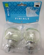Cambria Classics Finials~My Room~Smooth Glass Ball Finial~Green~Set of 2~NEW