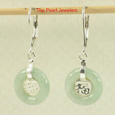 Solid Silver 925 Good Fortunes Celadon Green Jade Leverback Dangle Earrings TPJ