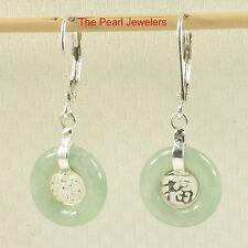 Solid Silver 925 Good Fortunes Celadon Green Jade Leverback Dangle Earrings TPJ