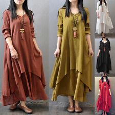 Womens Casual Kaftan Tunic Gypsy Maxi Dress Boho Cotton Linen Long Sleeve Dress