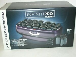 InfinitiPro By Conair Instant Heat Ceramic Flocked Rollers, 20 Count New