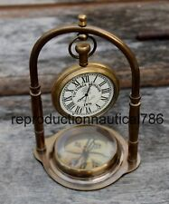 Maritime Collectible Desk Clock Nautical Solid Brass Stand Decor Watch W/Compass