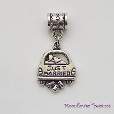 Tibetan Silver Just Married Wedding Car Charm fit European Bracelet