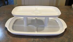 NEW Double Layer Serving, Storage Tray, White Plastic, Excellent!!