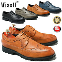 Men's Oxfords Brogue Leather Formal Casual Dress Lace up Wing Tip Driving Shoes