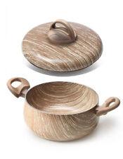 Casseruola con coperchio arborea 24 cm effetto legno antiaderente 2 manici new