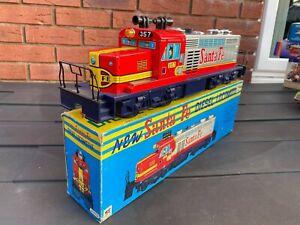 TM Modern Toys Japan Tinplate Santa Fe Diesel Locomotive In Box - Rare Working