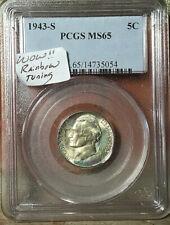 1943-S .5c WARTIME SILVER NICKEL PCGS MS65 RAINBOW TONED Jefferson Nickel