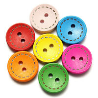 100pcs Round Wood Buttons Two-hole DIY Hats Clothes Decoration Random Color