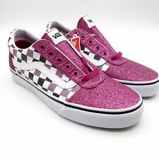 New Vans Ward Glitter Checker Pink White Black Shoes Skate Sneakers