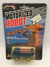 Vintage Motorized Robot Die Cast Dump Truck Blue Vehicle Transformers Toy MOC