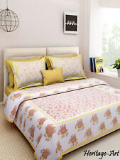 Indian Sanganeri Print King Size Pure Cotton Bed Sheet With Two Pillow Covers