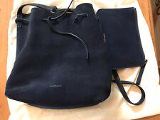 Mansur Gavriel Navy Blue Suede Bucket Bag  W/Pouch & Dust Bag