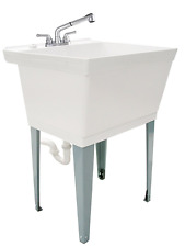 Laundry Utility Sinks Complete Tub Set Kitchen Bath Outdoor W/ Pull Out Faucet