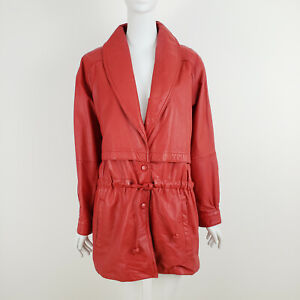Vintage Wilsons Women's Jacket M Red Leather Shawl Collar Drawstring 80s 90s