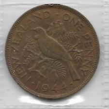 NEW ZEALAND 1944 KING GEORGE VI PENNY 1d COIN