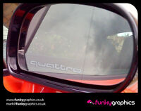 AUDI QUATTRO SMALL LOGO MIRROR DECALS STICKERS GRAPHICS DECALS x3 IN SILVER ETCH