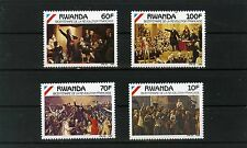 RWANDA 1990 Sc#1342-1345 PAINTINGS FRENCH REVOLUTION SET OF  4 STAMPS MNH
