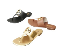 NEW MICHAEL KORS RACQUEL THONG SANDALS SANDAL FLIP FLOP FLOPS BLACK LEATHER 7.5