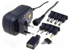 Alimentatore universale switching compatto 3-4,5-5-6-7,5-9-12V + USB, ADC 0,6 Ah
