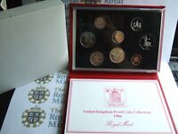 NEW 1986 (A) DELUXE Royal Mint UK PROOF Coin Set RED Leather Wallet!