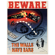 Beware the Walls Have Ears Vintage World War Propaganda Poster 10x13