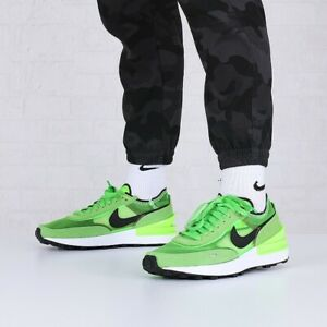 NIKE WAFFLE ONE Running Trainers Gym Casual - UK Size 7 (EUR 41) Electric Green