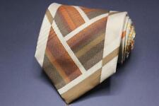 VITALIANO PANCALDI Silk Tie. Brown & Yellow Whimsical Print.