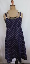 VINTAGE 1970s ~ Target Navy Blue White Red Geometric Cotton Sundress 16