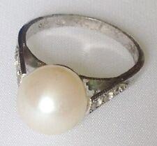 bague ancienne argent pur 835 poinçon cristaux diamant perle blanche taille 54