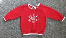 George Baby Girl Christmas Sweater 12M Red Pullover Snowflakes