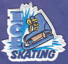"""ICE SKATING"" w/SKATE - IRON ON EMBROIDERED PATCH - SPORTS, ICE SKATE, SKATER"