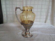 Cresent silver triple plate silver & amber glass pitcher. Lovely!