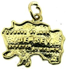 solid 9Carat 9ct yellow gold Jersey Island map charm pendant