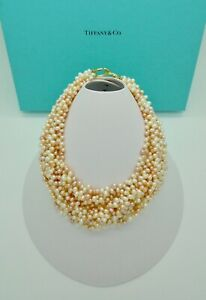 Tiffany & Co. Paloma Picasso Pink Cream Pearl Torsade 18k Gold Necklace - RARE
