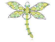 Elegant Light Green Beaded Dragonfly Diamante Rhinestone Pin Brooch Design