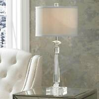 Modern Table Lamp Crystal Column Luxe Grey for Bedroom Living Room Bedroom