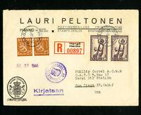 Finland Stamps Registered 1946 Cover to USA 4 Backstamps Corner Card